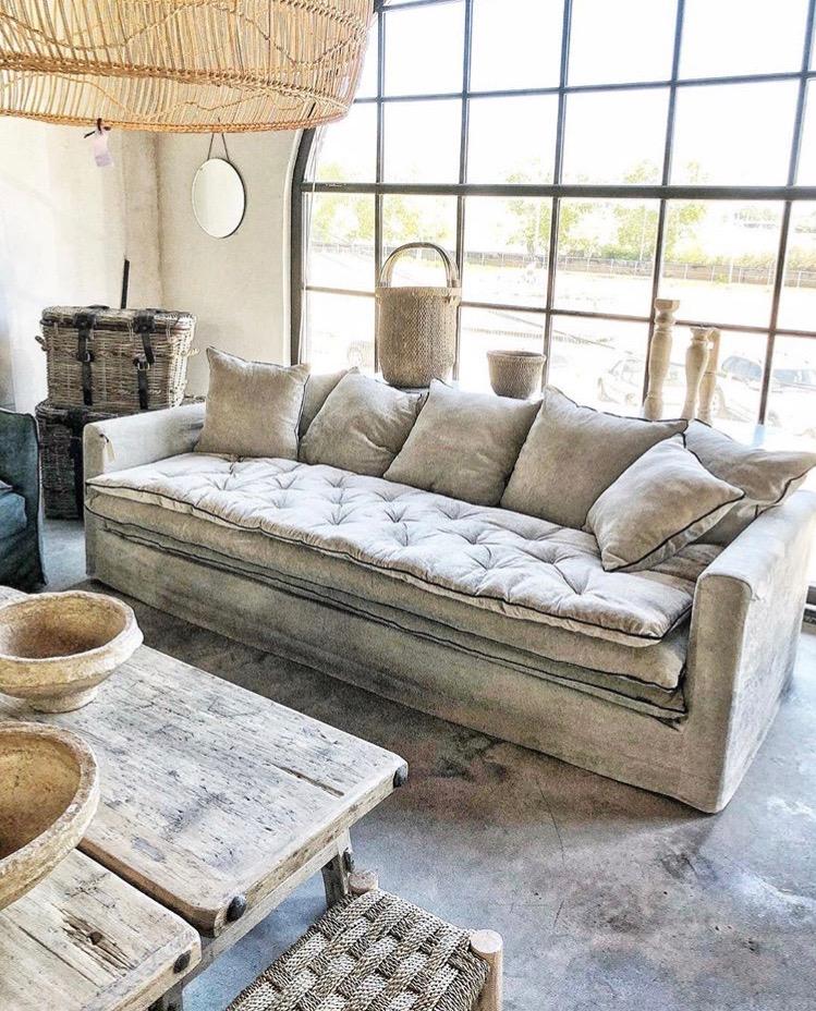 canapé sur mesure lin lavé beige écru Paris