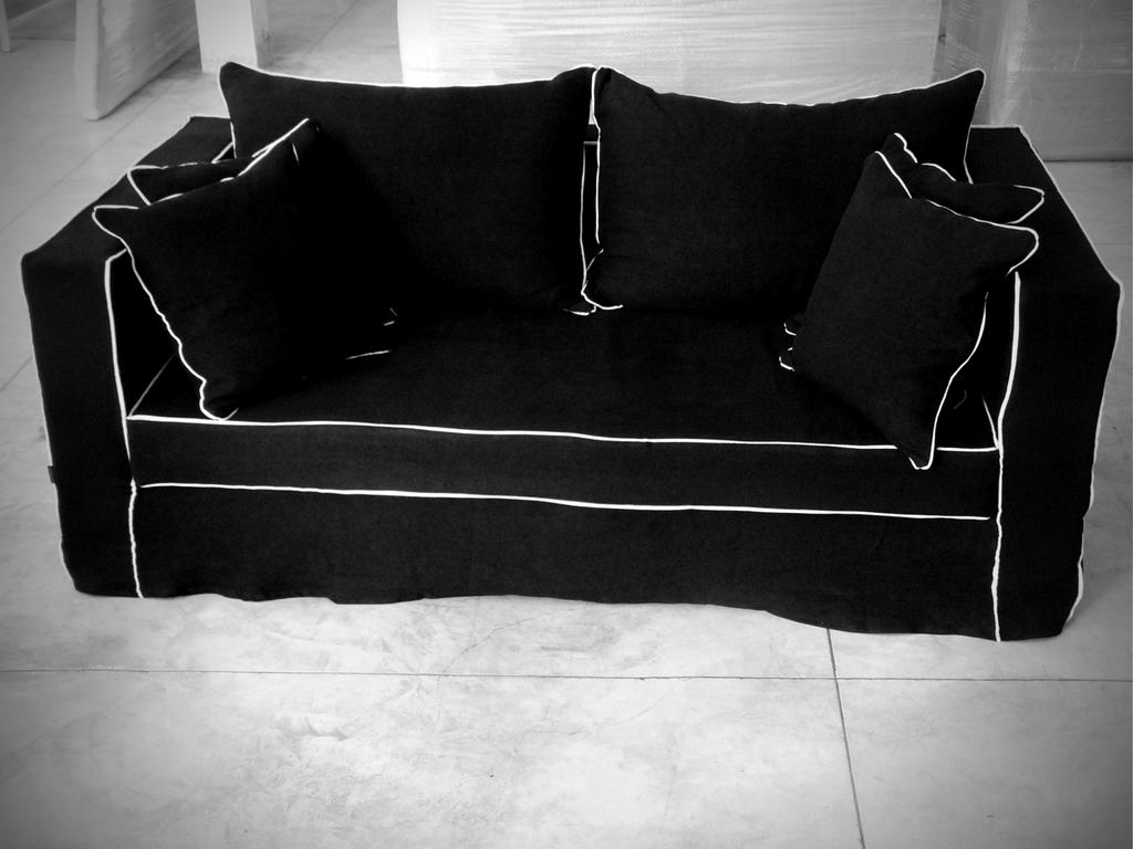 canapé lin lavé noir sur mesure Avignon