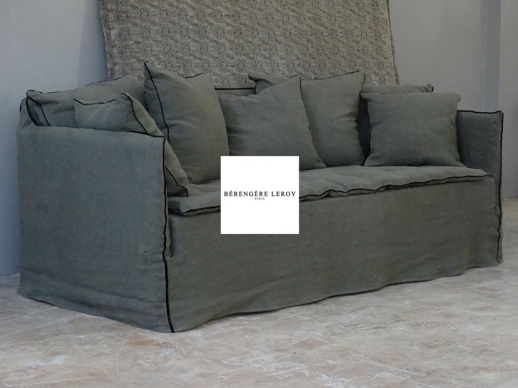 Canapé sur mesure en lin lavé kaki Aix en Provence