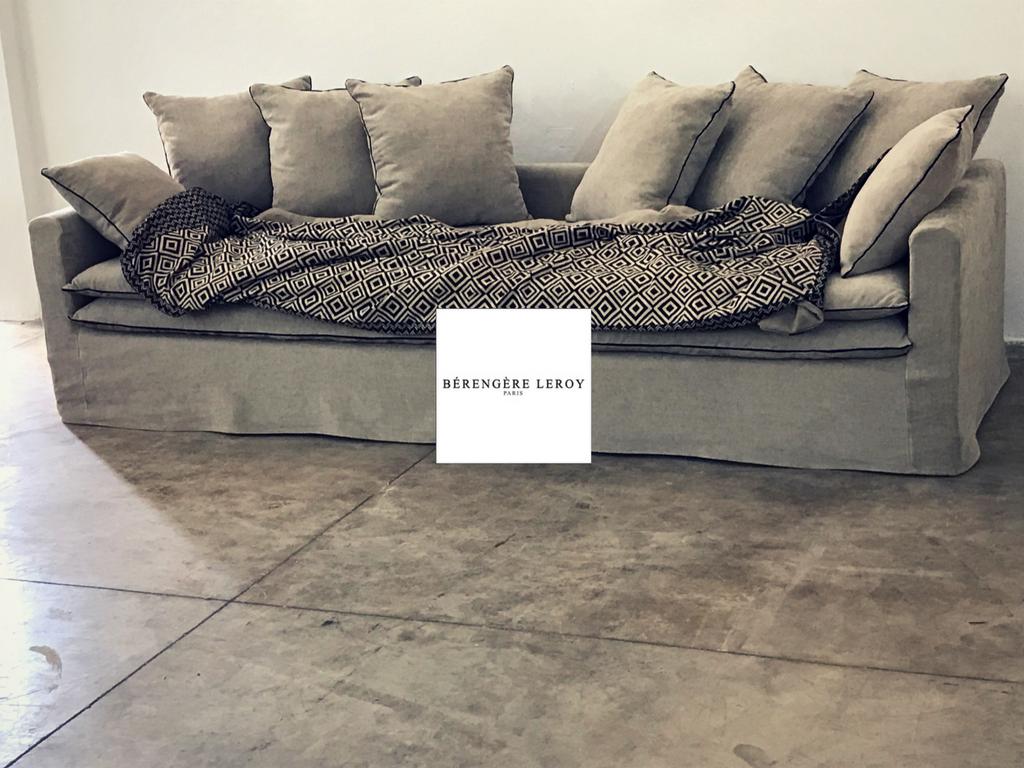 Canapé sur mesure Boheme en lin lavé beige ciment Geneve