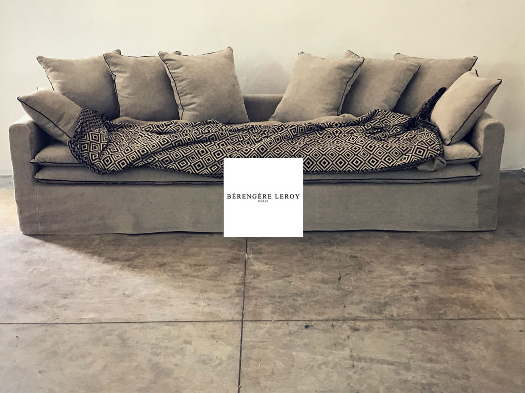 Canapé sur mesure Boheme en lin lavé beige ciment Paris