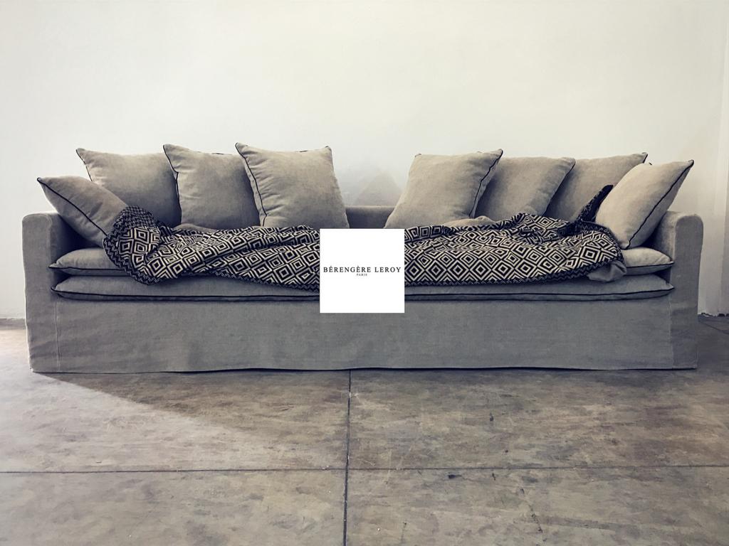 Canapé sur mesure Boheme en lin lavé beige ciment Zurich