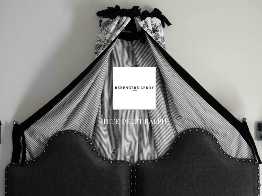 tête de lit sur mesure en lin gris anthracite Geneve