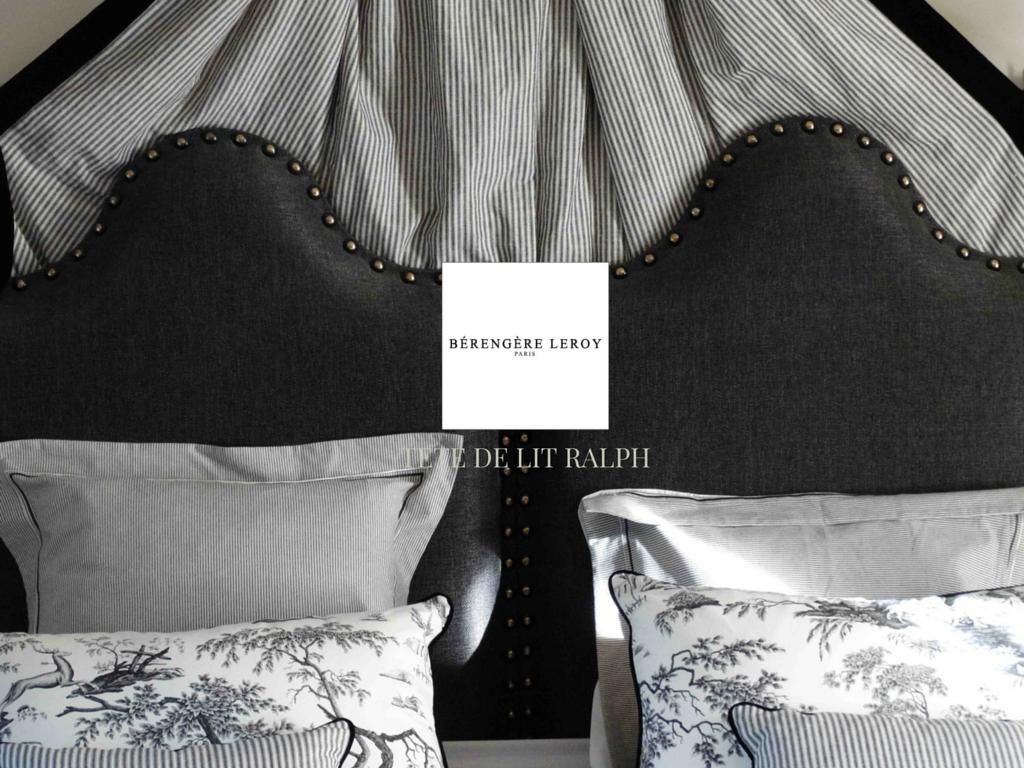 tête de lit sur mesure cloutée en lin gris anthracite Lyon
