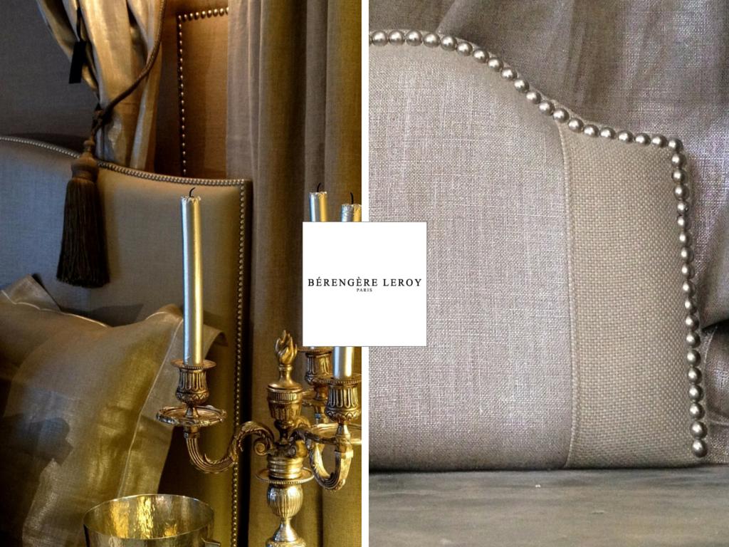 Tête de lit cloutée en lin beige argenté Geneve