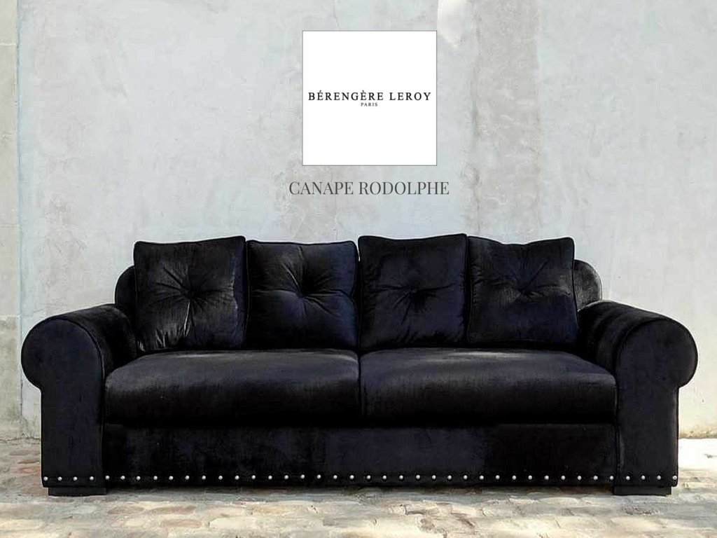 canape en velours noir cloute rodolphe collections mobilier sur mesure paris b reng re leroy. Black Bedroom Furniture Sets. Home Design Ideas
