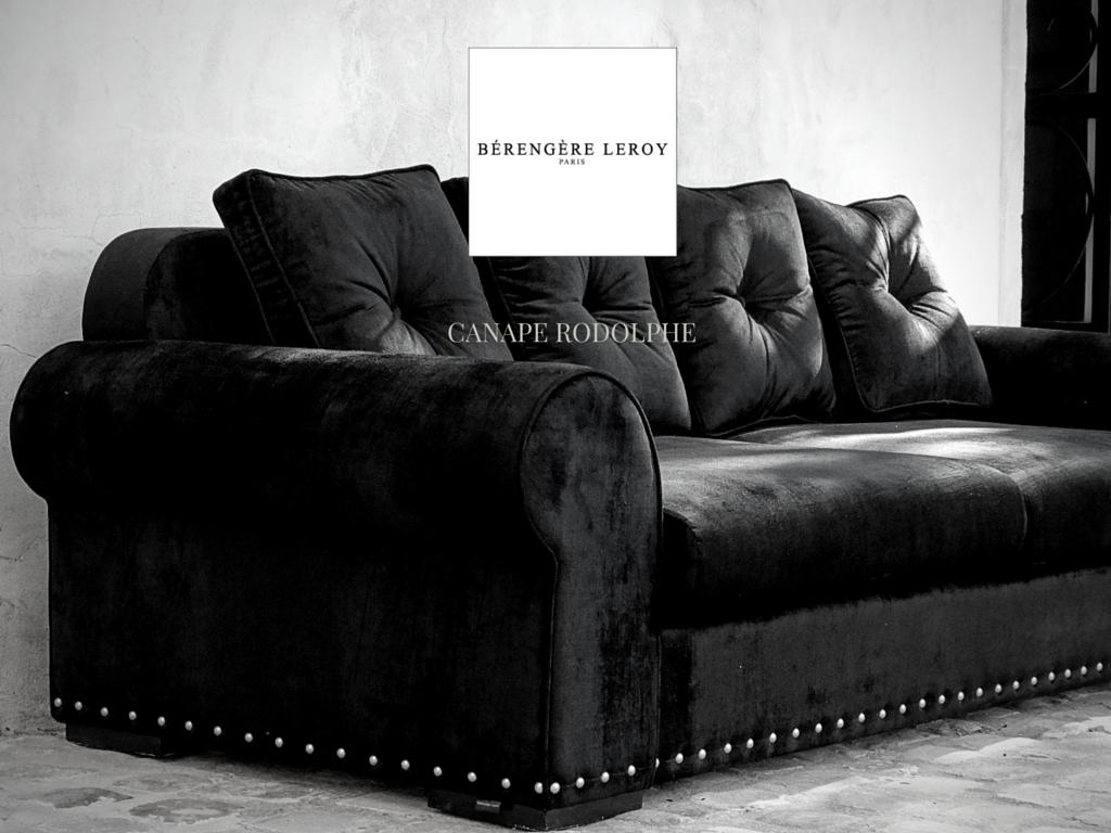 canape en velours noir cloute rodolphe collections mobilier sur mesure paris b reng re leroy. Black Bedroom Furniture Sets. Home Design Ideas