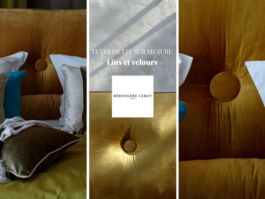 fabrication de têtes de lit sur mesure velours orange terre de sienne finition passepoilée