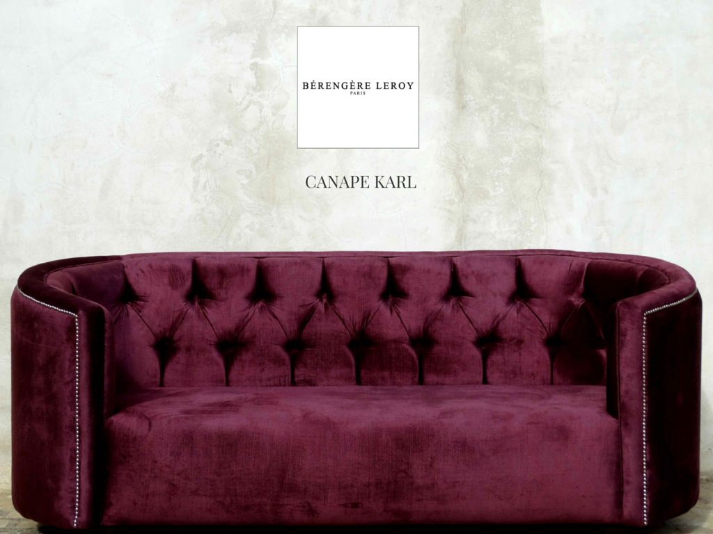 Canap capitonn clout en velours prune karl collections for Canape en velours