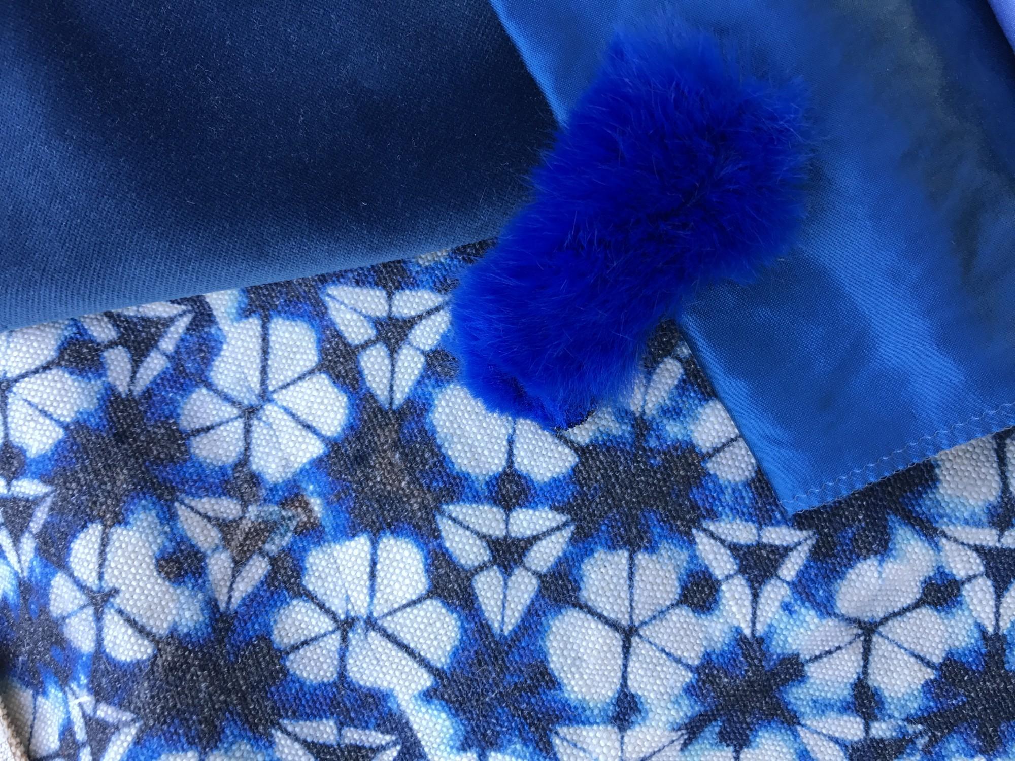velours lavé bleu paon paris