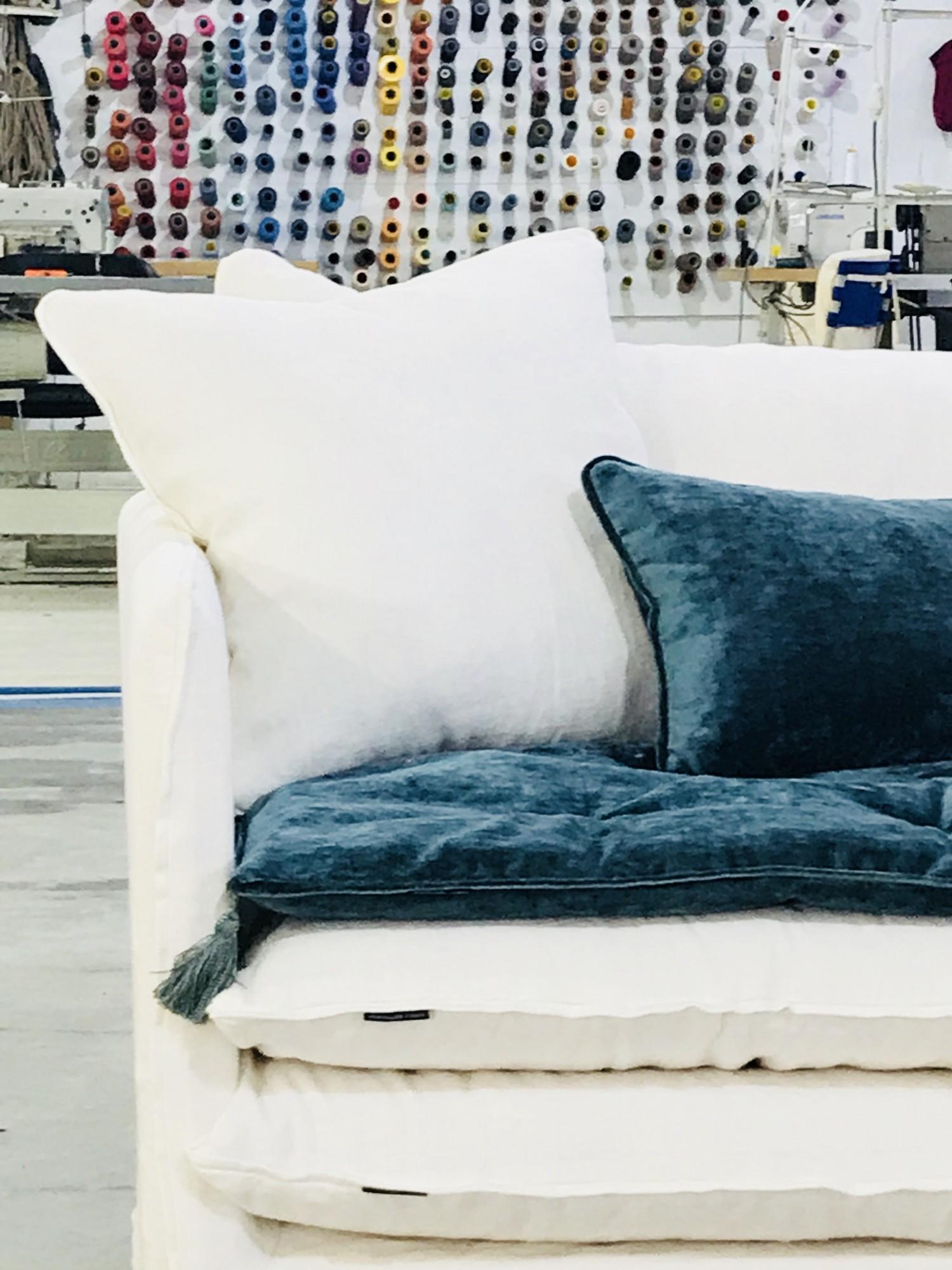 Canapé sur mesure en lin lavé blanc Geneve
