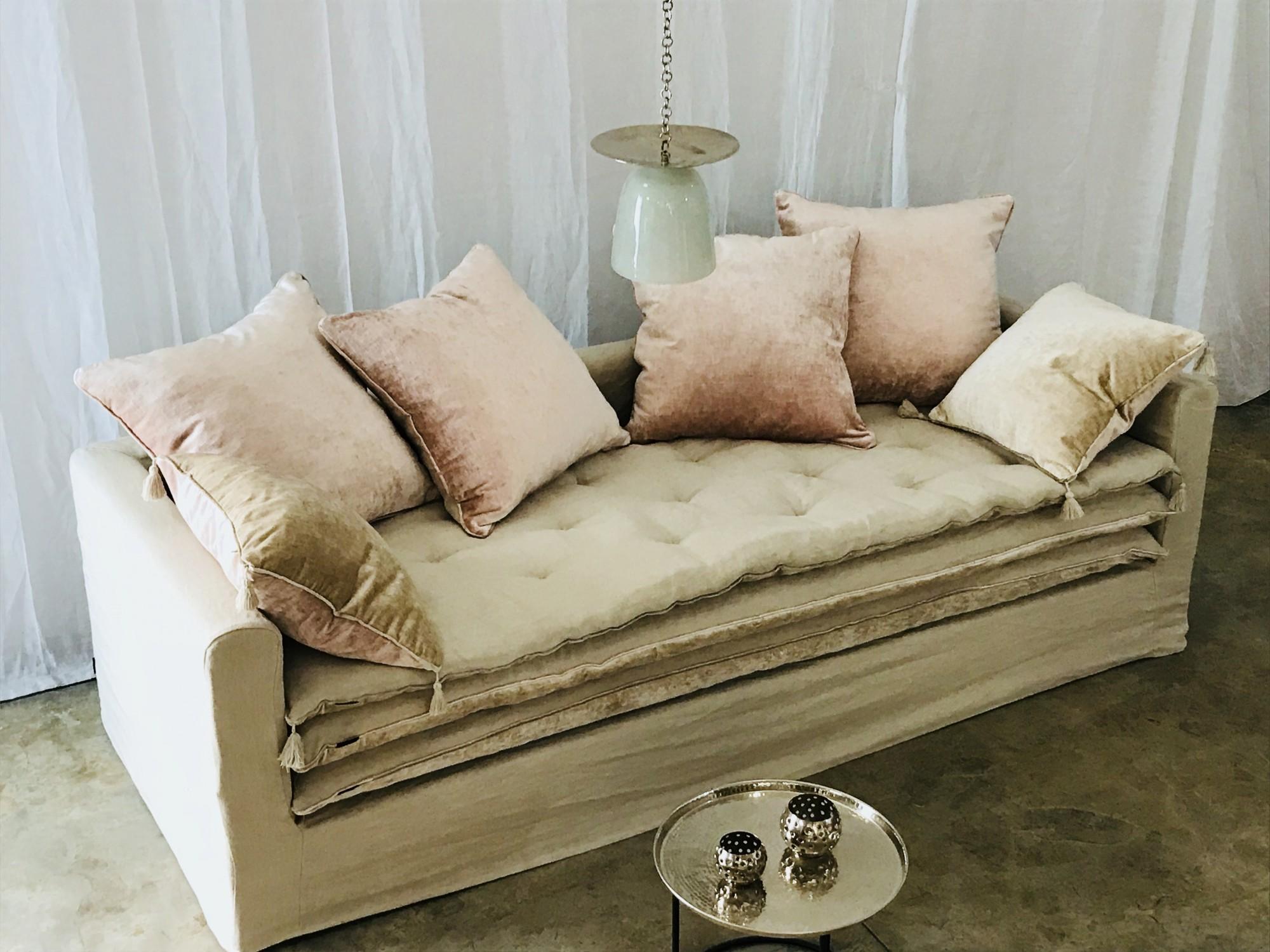 canapé sur mesure lin lavé beige ficelle Lyon