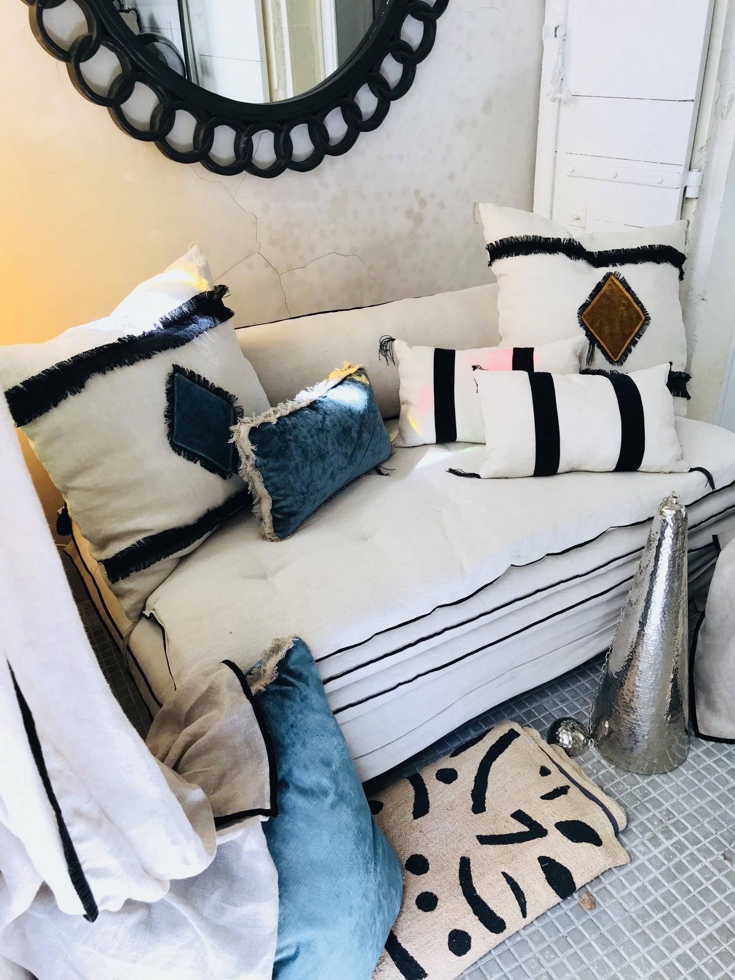 Canapé en lin lavé blanc Tribal Saint Tropez