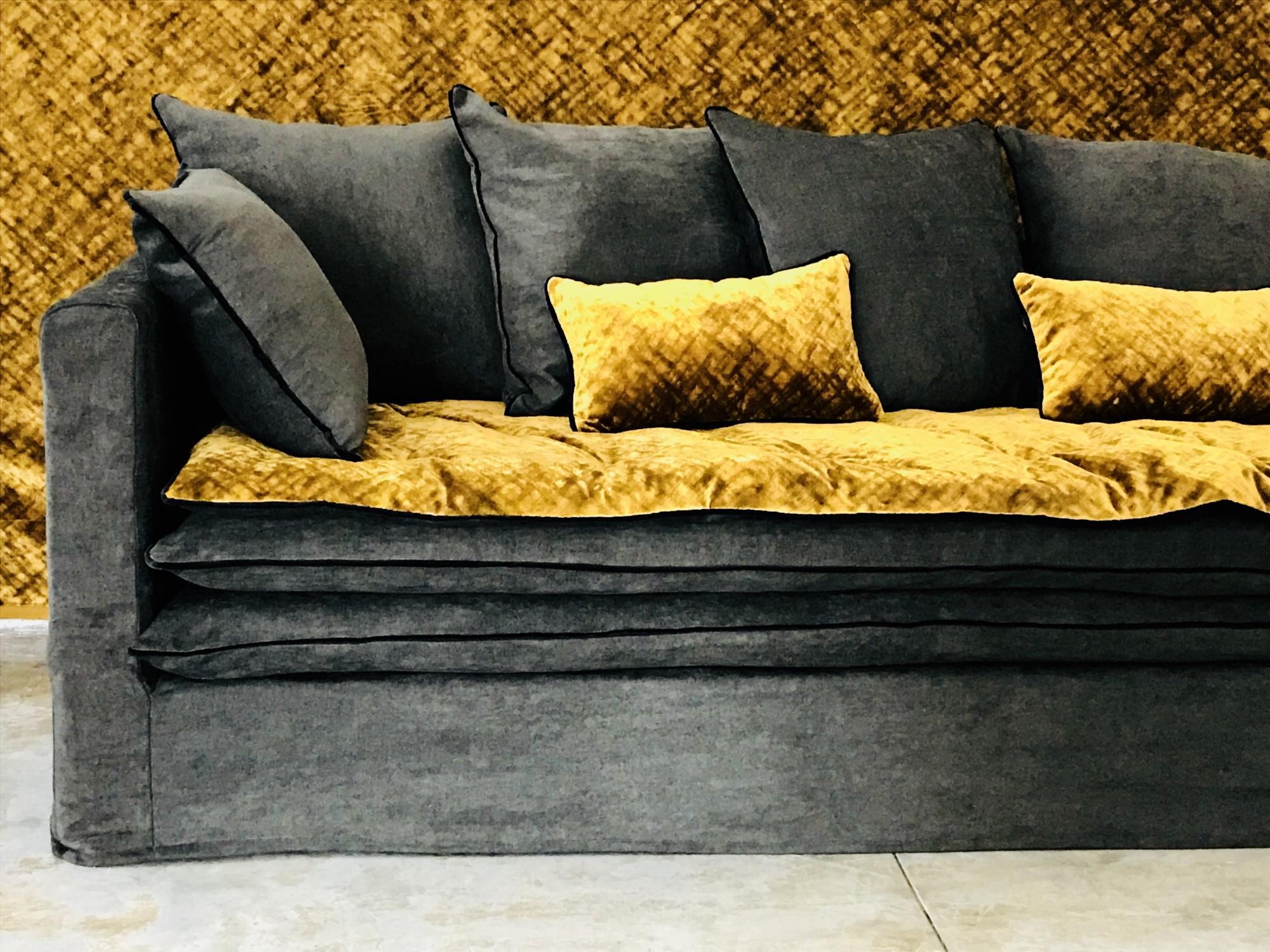 canap boheme en lin lav gris anthracite carbone. Black Bedroom Furniture Sets. Home Design Ideas