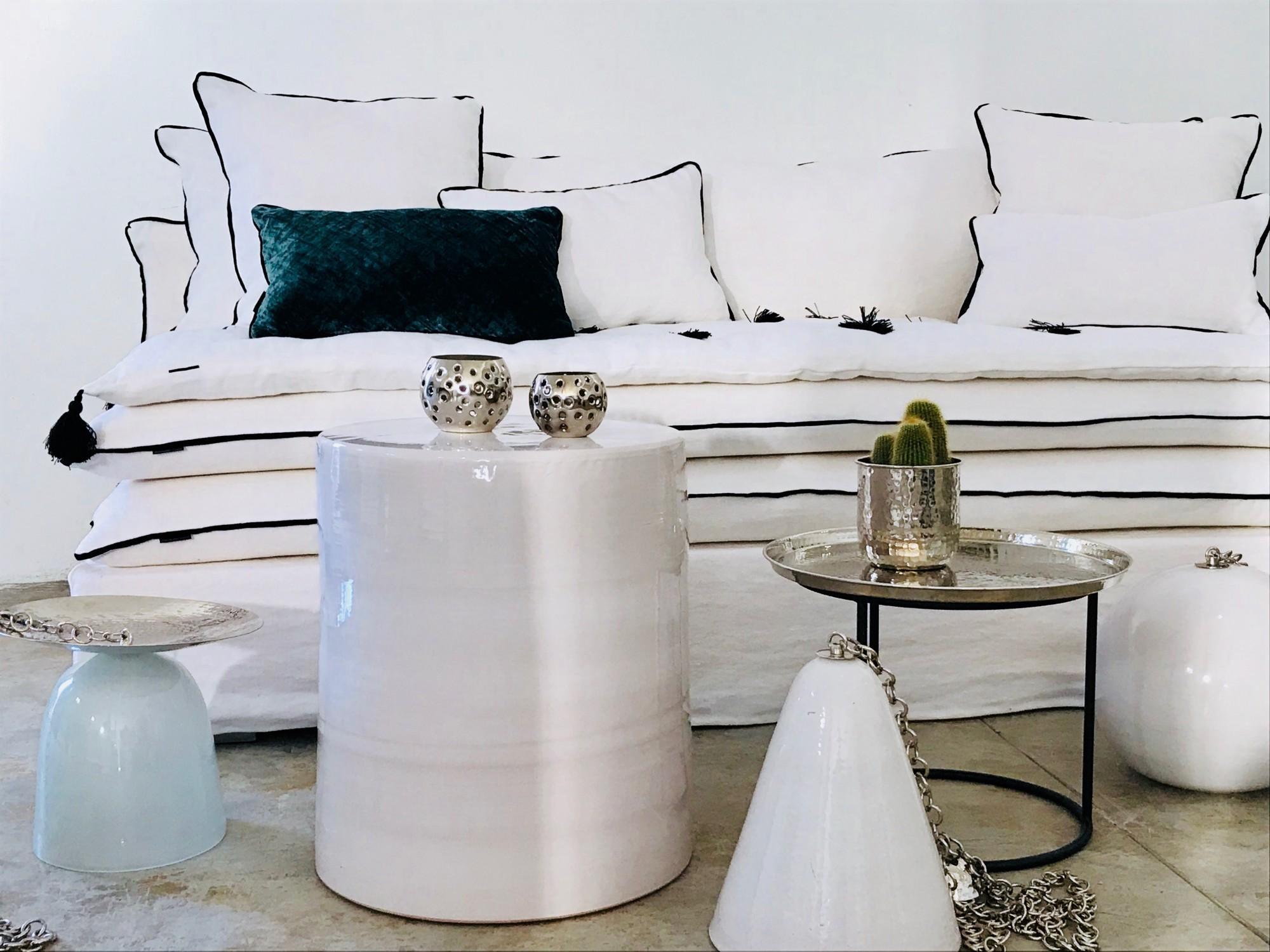 Canapé en lin lavé blanc Lyon