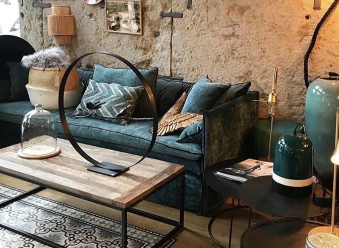 Canapé sur mesure lin lavé bleu canard Lyon
