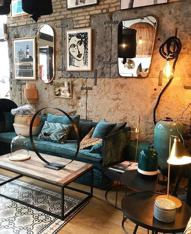 Canapé sur mesure lin lavé bleu canard Paris
