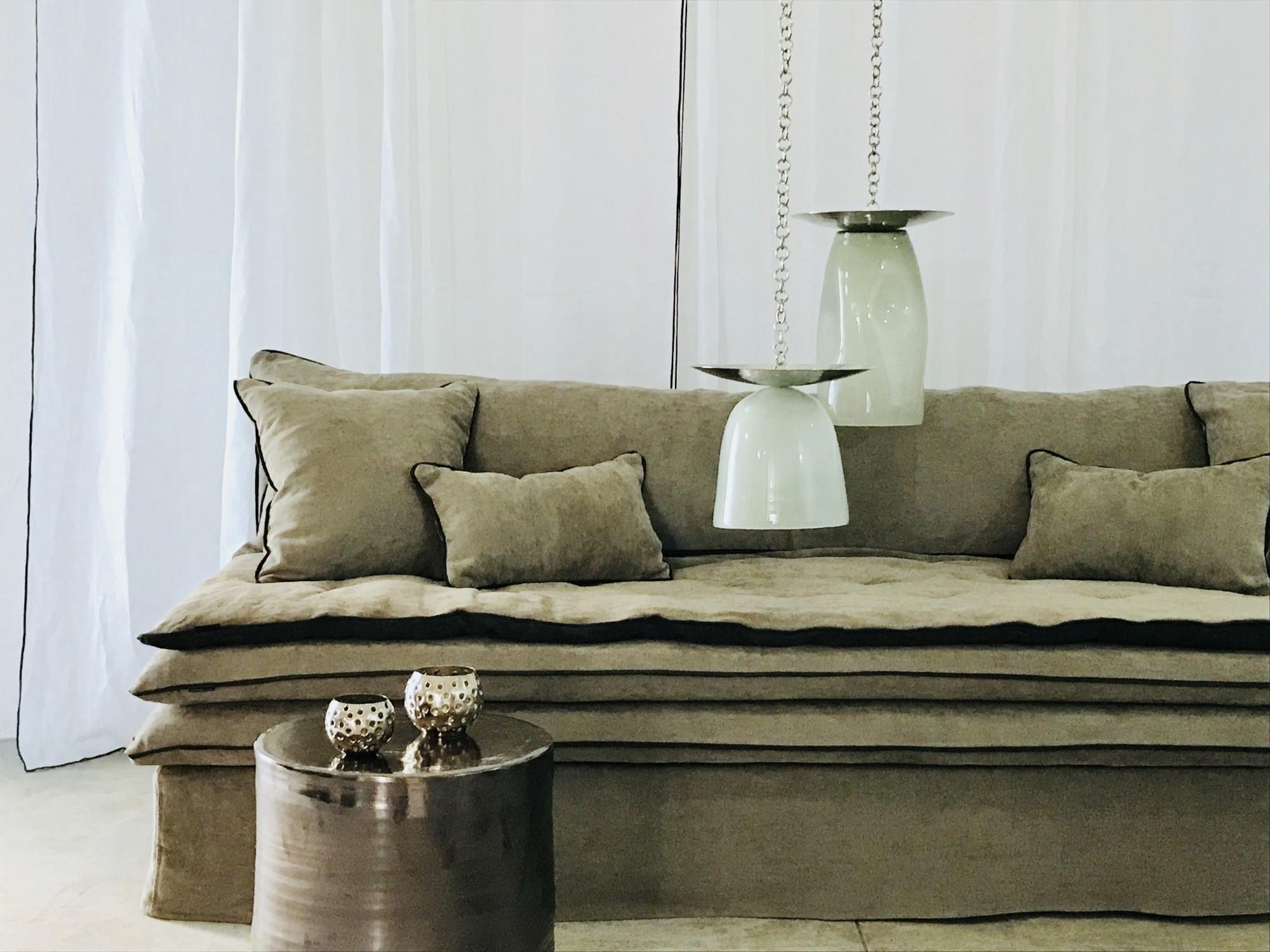 canapé sur mesure lin  lin chenille soft washed ecorce Paris