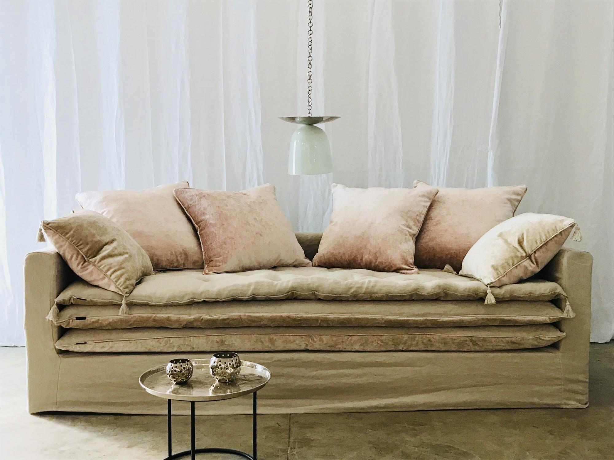 canapé sur mesure lin lavé beige ficelle Genève