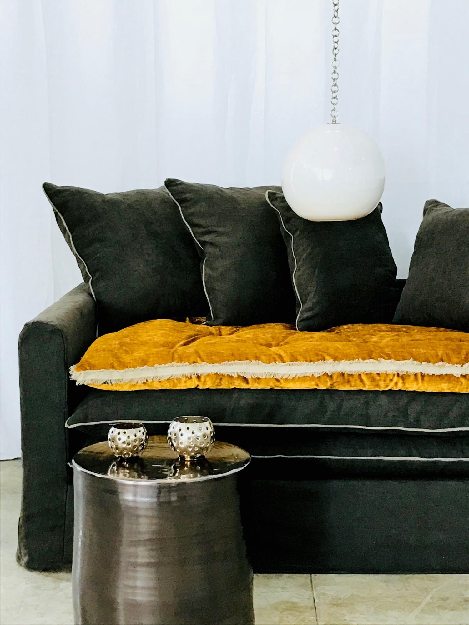 Canapé sur mesure lin chenille soft washed gris carbone Paris
