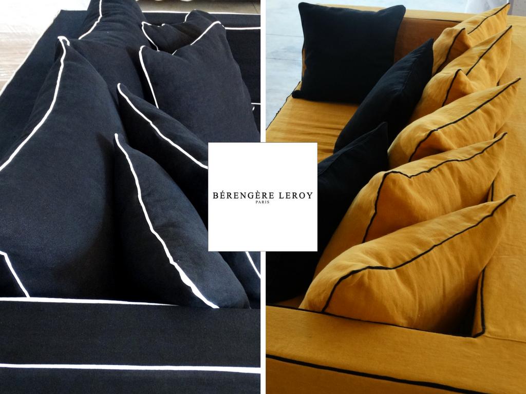 Canapé sur mesure en lin lavé noir Neuilly Sur Seine