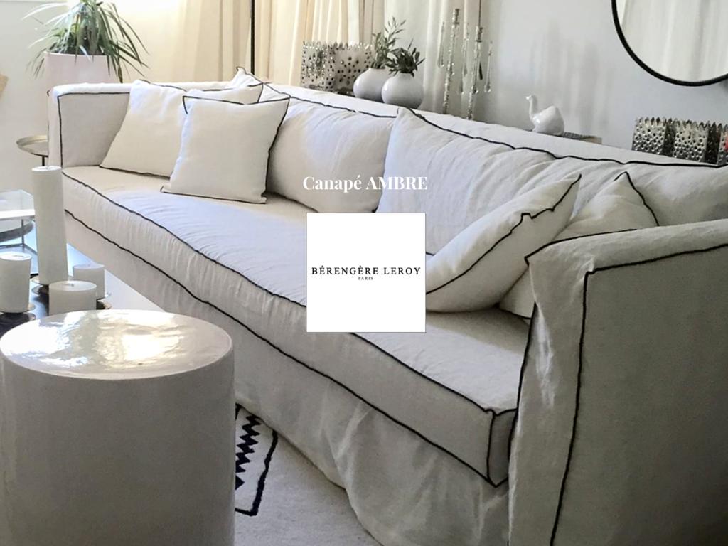 canapé sur mesure de luxe en lin lavé ivoire Paris