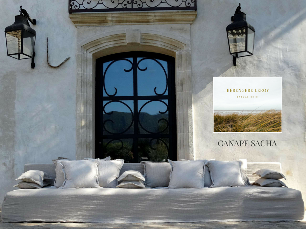 canapé sur mesure en lin froissé beige ficelle Corse