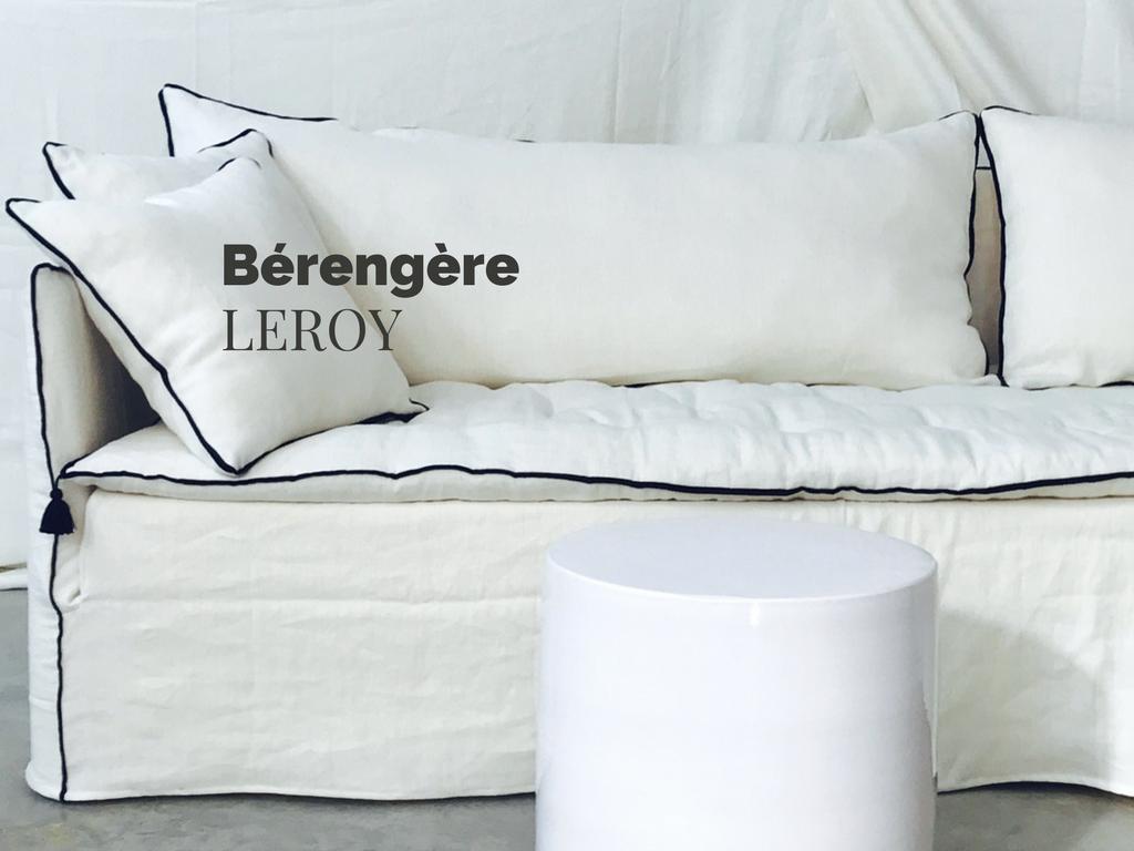 canapé sur mesure en lin lavé blanc ivoire Paris