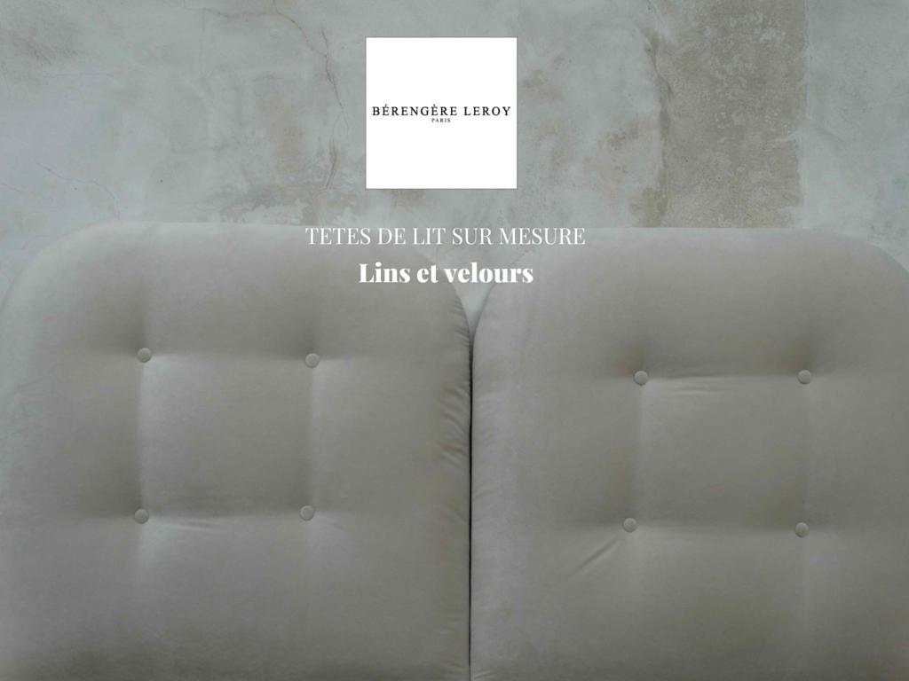 Tête de lit sur mesure capitonnée en velours blanc