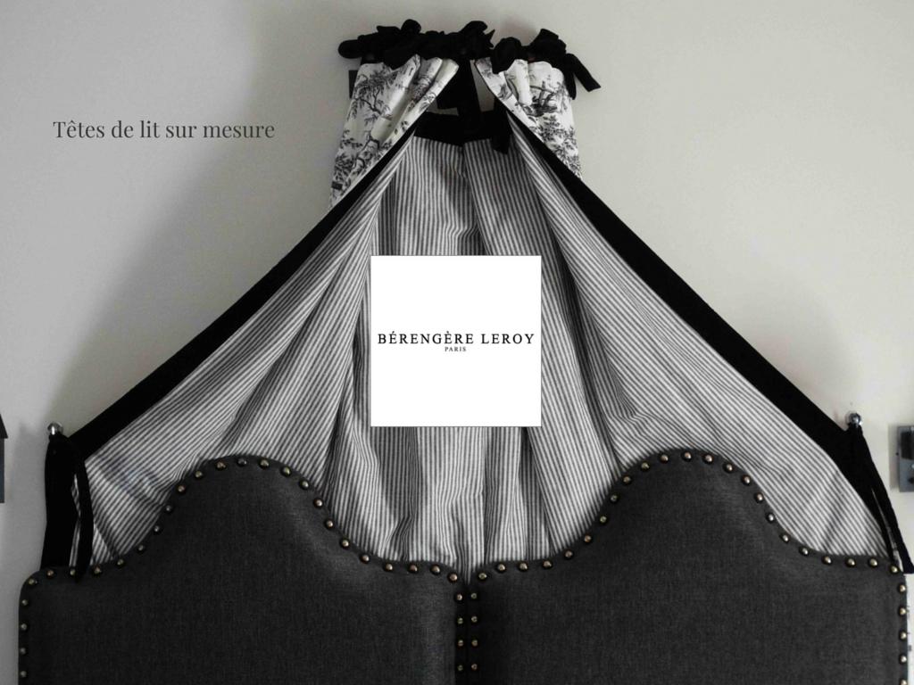 Tête de lit sur mesure cloutée en lin noir Lausanne