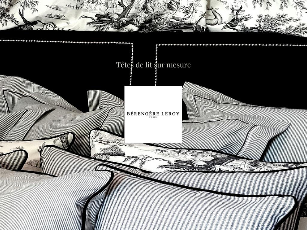 Tête de lit sur mesure cloutée en velours noir Nice