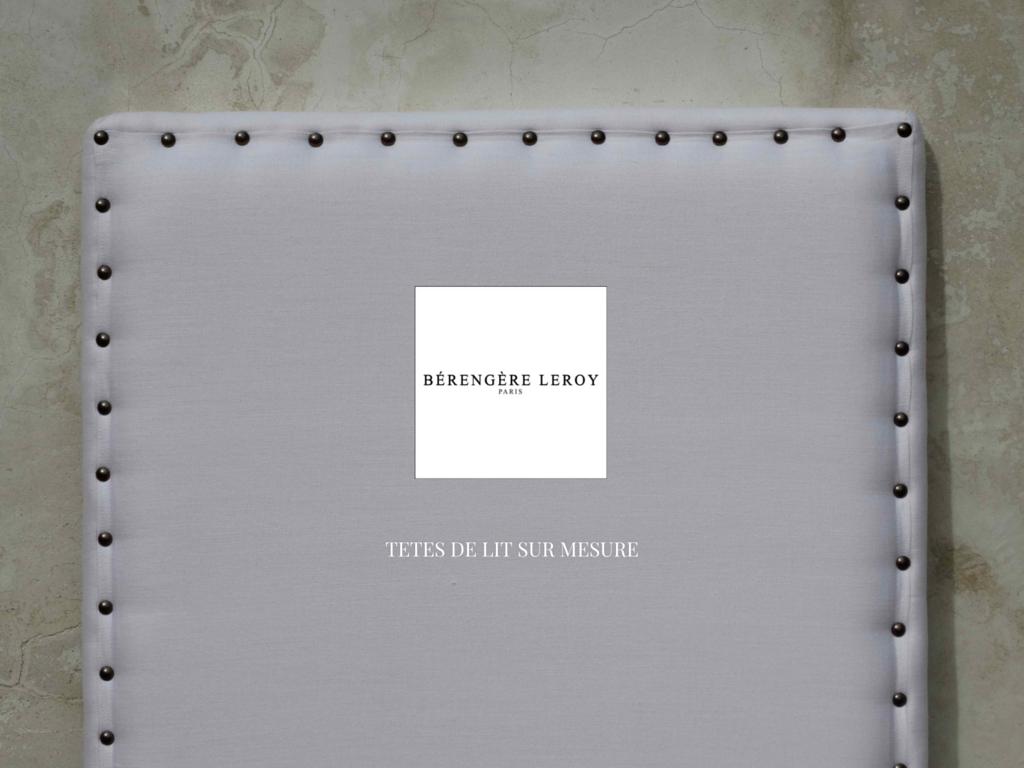 fabrication de têtes de lit sur mesure cloutées en lin blanc