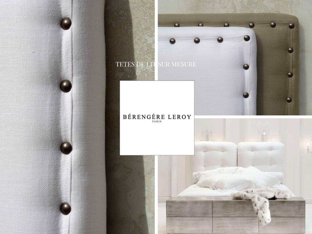 fabrication de têtes de lit sur mesure cloutées en lin taupe