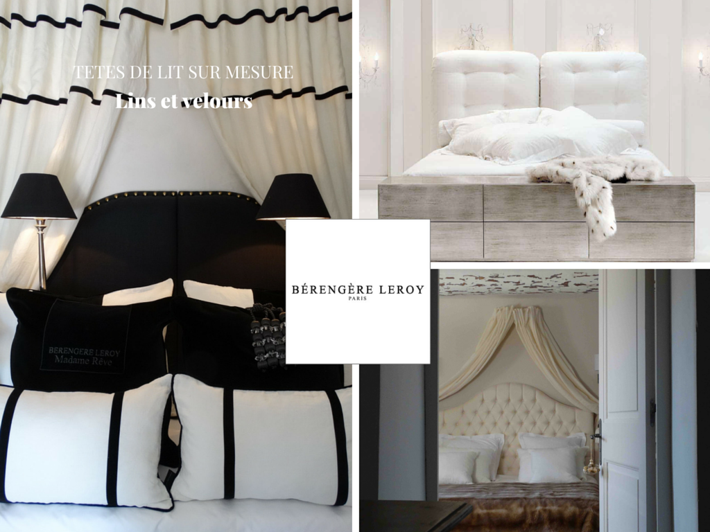 fabrication de têtes de lit sur mesure capitonnées en velours blanc