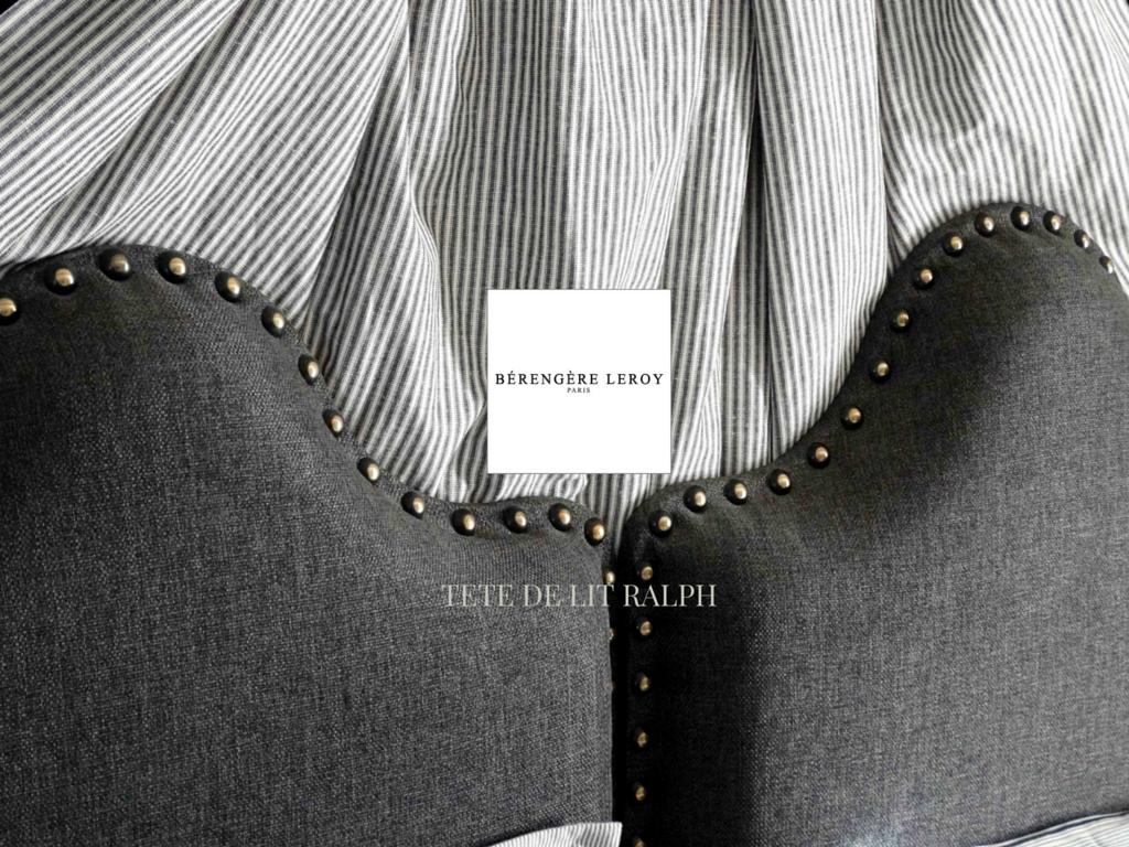 tête de lit sur mesure cloutée en lin gris UZES