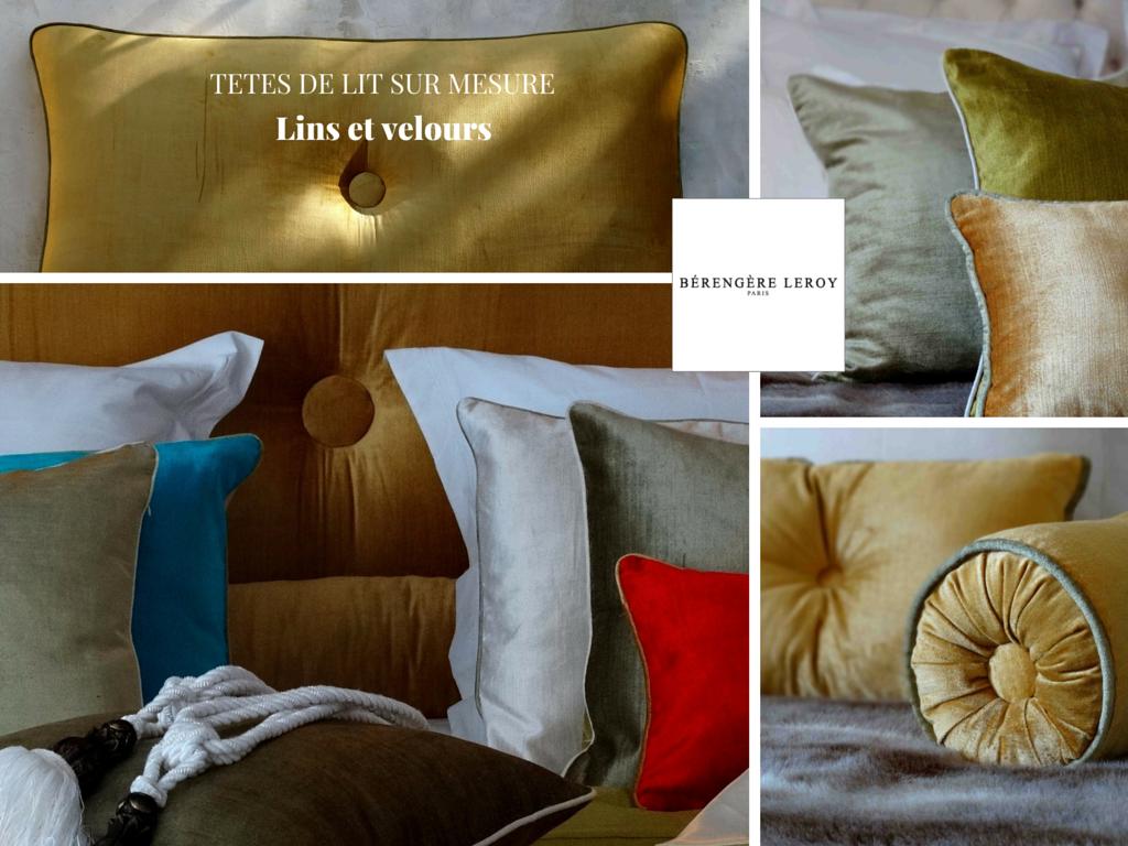 Tête de lit sur mesure passepoilée en velours orange aix en provence