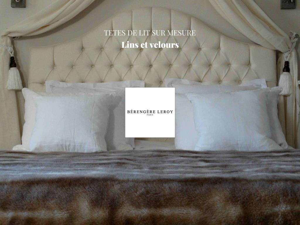 Tête de lit sur mesure capitonnée en velours beige écru Paris