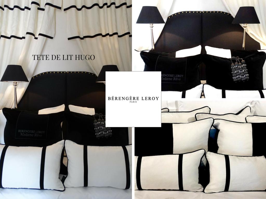 Tête de lit sur mesure cloutée en lin gris anthracite Suisse