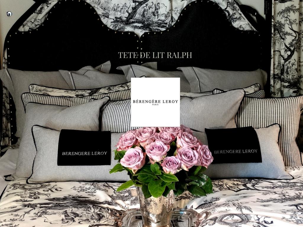 Tête de lit sur mesure cloutée en lin noir Suisse
