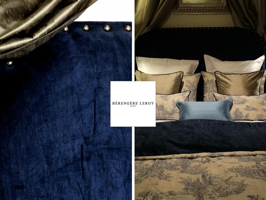Tête de lit sur mesure cloutée en velours bleu marine Suisse