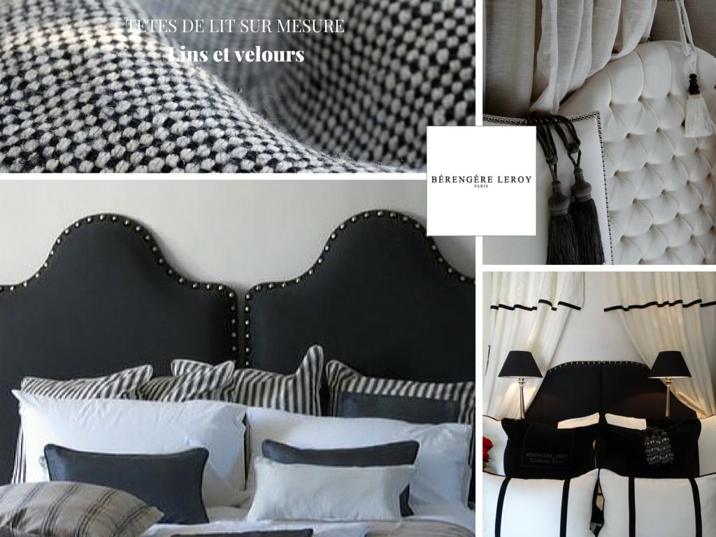 Tête de lit sur mesure cloutée en lin Belgique