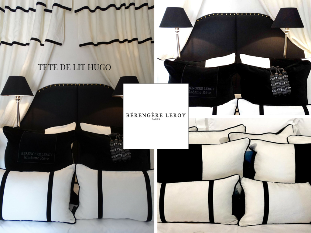 Tête de lit sur mesure cloutée en lin noir Côte d'Azur