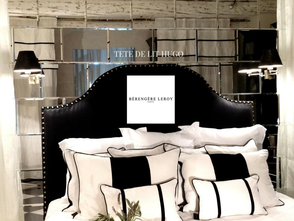 Tête de lit sur mesure cloutée en lin noir Reims