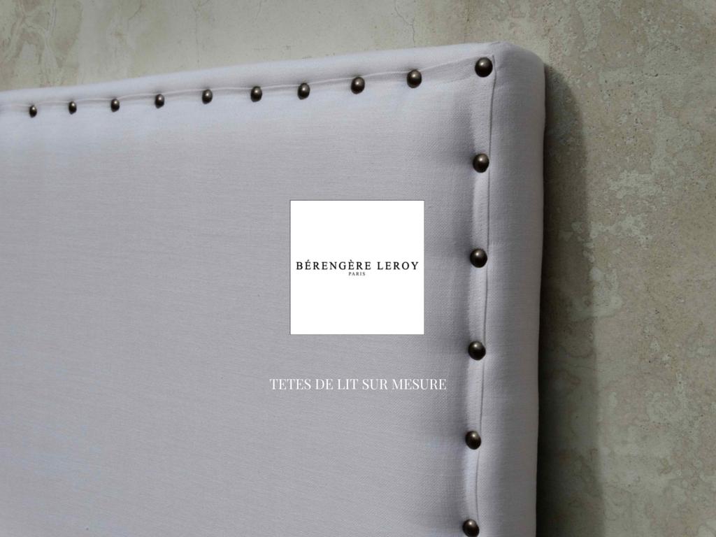 Tête de lit sur mesure cloutée en lin blanc Toulouse
