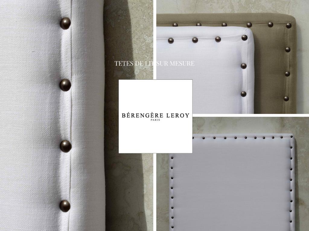 Fabricant de têtes de lit sur mesure cloutées en lin blanc et lin taupe