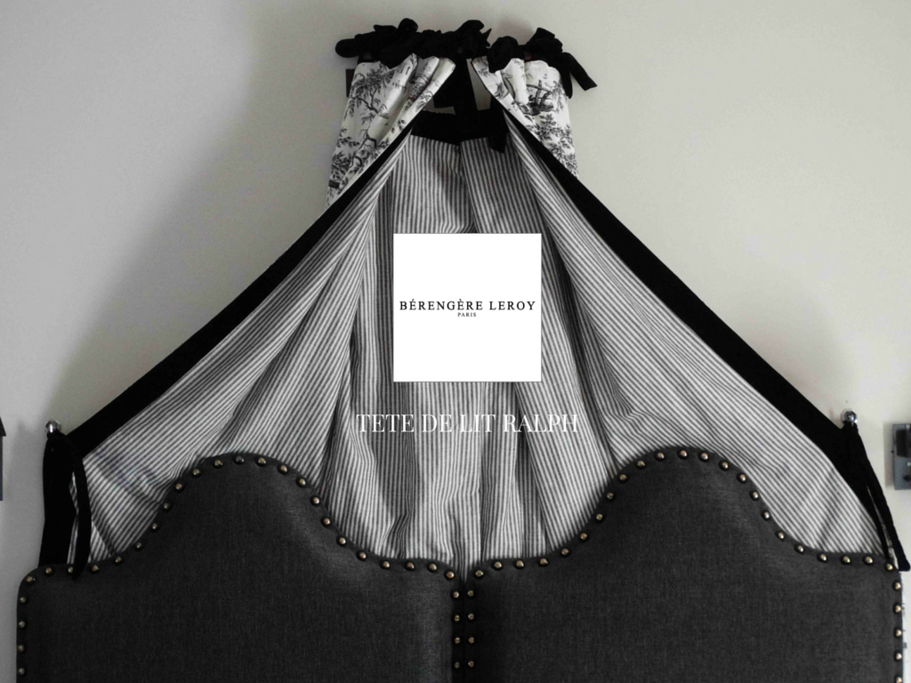 Tête de lit sur mesure cloutée en lin gris anthracite à Londres