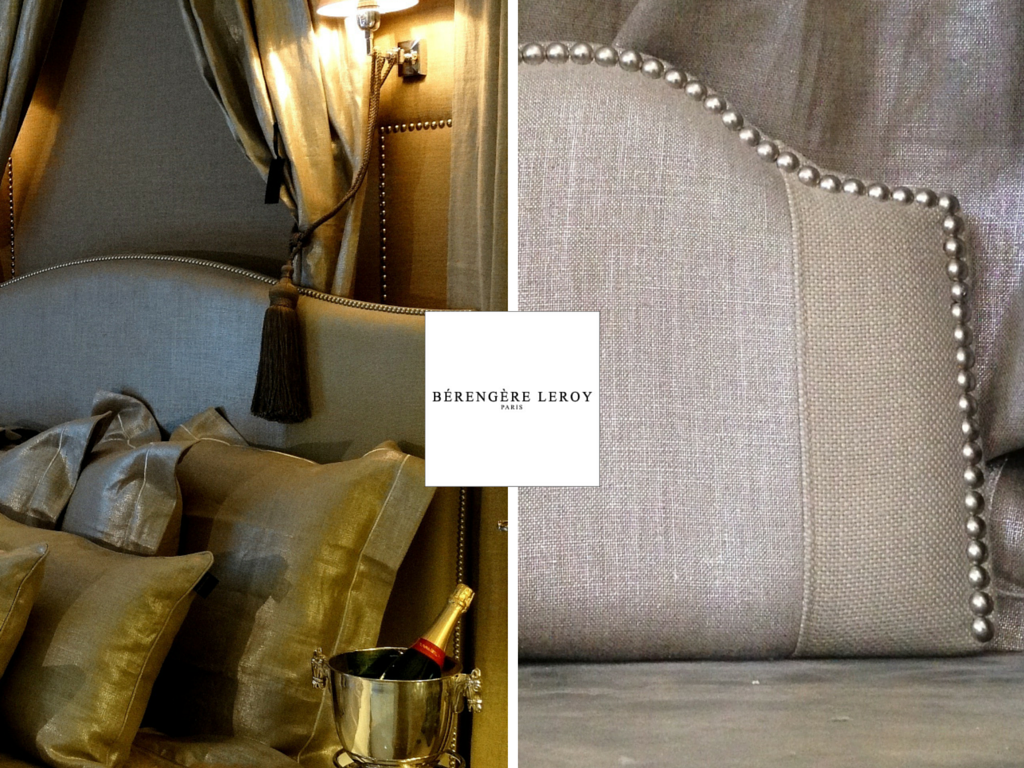 Tête de lit sur mesure cloutée en lin beige argenté à Londres