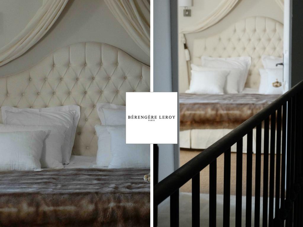 Tête de lit sur mesure capitonnée en lin beige à Londres
