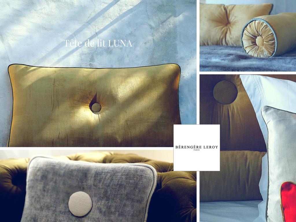 Tête de lit sur mesure en velours gris perle
