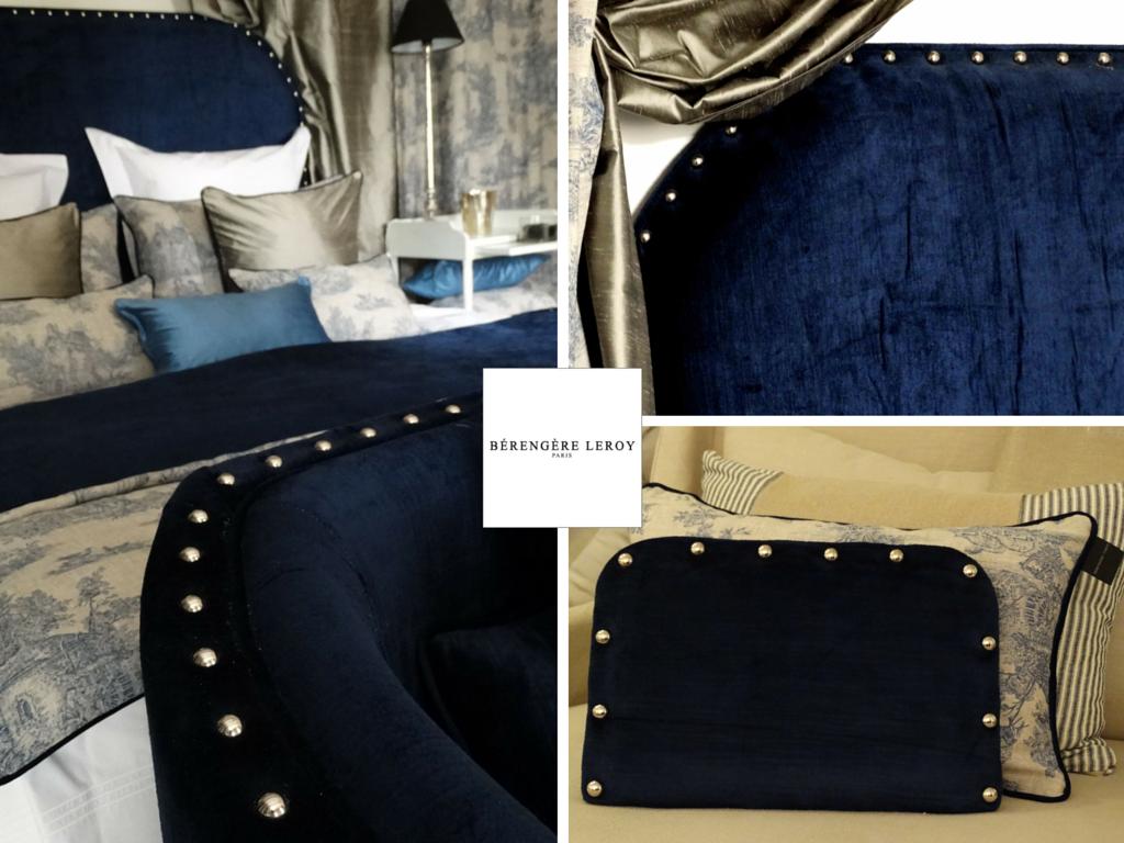 Tête de lit sur mesure cloutée en velours bleu nuit Nice Côte d'azur